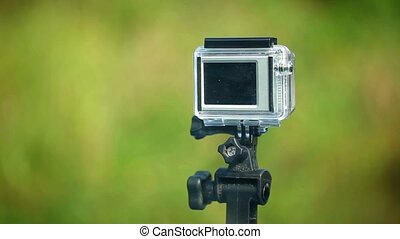 Action camera on mount outdoors