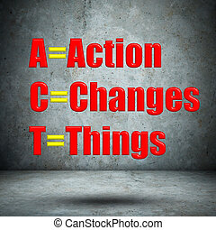 Action Changes Things on concrete wall