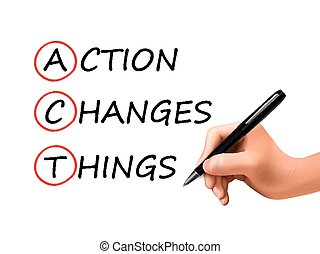 action changes things words written by 3d hand over white