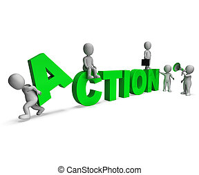 Action Characters Shows Motivated Proactive Or Activity -...