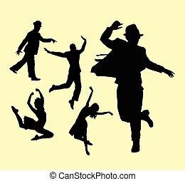 action, danseur,  silhouette, femme,  mâle
