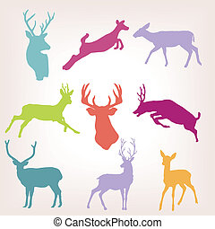 Action deer silhouette set