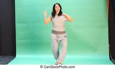 action, femme, jeune, danse