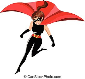 action, femme, superhero, isolé