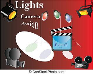 action..., fototoestel, lights..