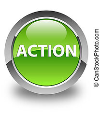 Action glossy green round button
