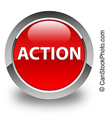 Action glossy red round button