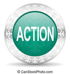 action green icon, christmas button
