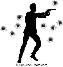 Action hero in gun fight silhouette