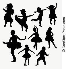action, heureux, silhouette, enfants, gosse