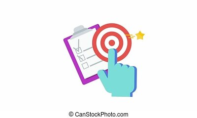 Action Icon. Call to action, CTA. Report with chart, rocket flies out of the box. Outbound marketing. Traditional advertising and promotion. Flat animation.
