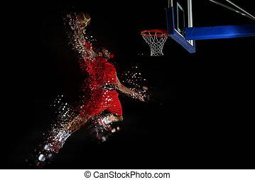 action, joueur, basket-ball, conception