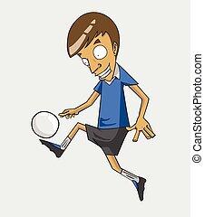 action, joueur, football, balle, coup de pied
