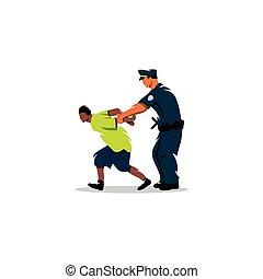 action., justicia, negro, detenido, man., policía, blanco
