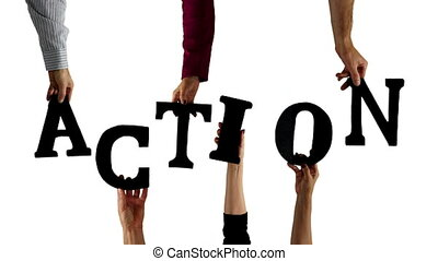 action, lettre, mains