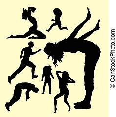 action, mâle femelle, geste, silhouette