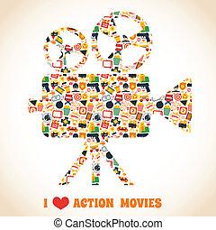 Action movie premiere cinema professional production camera concept vector illustration