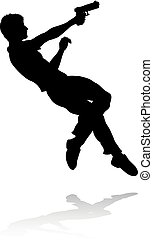 Action Movie Shoot Out Person Silhouette - Silhouette person...