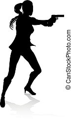 Action Movie Shoot Out Person Silhouette - Silhouette woman ...