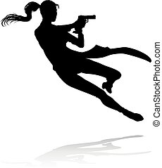 Action Movie Shoot Out Person Silhouette