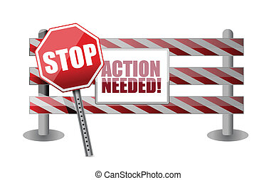 action needed barrier illustration design over a white...