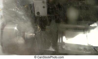 Action of lathe machine.