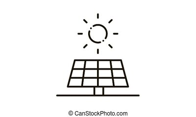 action of sun on battery Icon Animation. black action of sun on battery animated icon on white background
