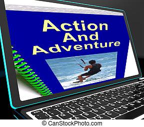 action, ordinateur portable, spectacles, aventure, expéditions