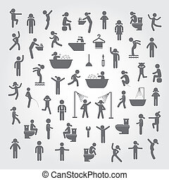 action people and  hygiene icons set on gray background