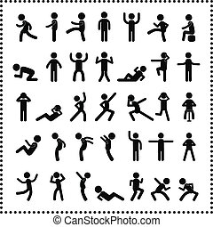 action people symbol set on white background