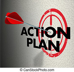 Action Plan Arrow Hitting Target Aim Focus Goal Objective