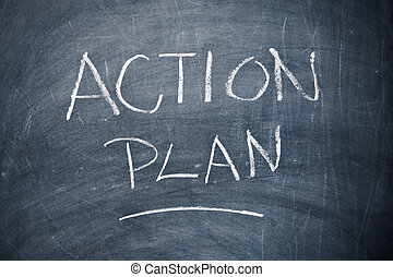 Action Plan Chalkboard - Action plan written with chalk on...