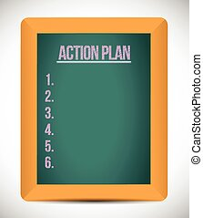 action plan check list on a board. illustration design over a white background