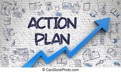 Action Plan Drawn on White Brick Wall.