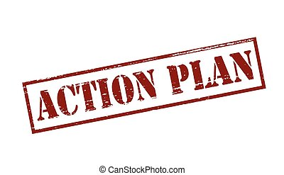 Action plan - Rubber stamp with text action plan inside,...