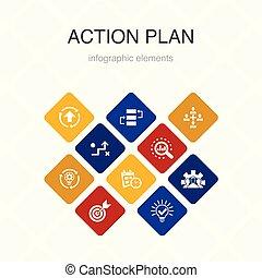 action plan Infographic 10 option color design. improvement,...