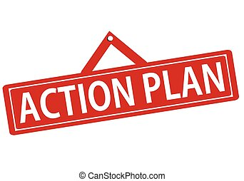 Rubber stamp with text action plan inside, vector illustration