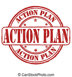 Action plan stamp - Action plan grunge rubber stamp on...