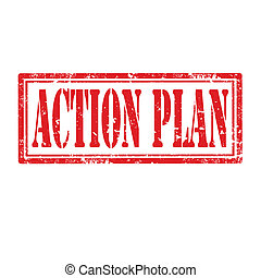 Grunge rubber stamp with text Action Plan, vector illustration