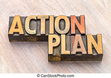 action plan word abstract in wood type