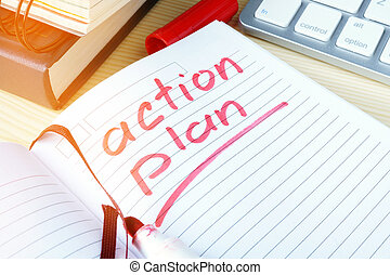 Action plan written in a note.