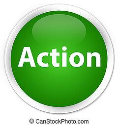 Action premium green round button