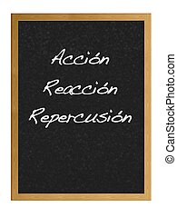 Action, Reaction, Repercussion. - Isolated blackboard with...