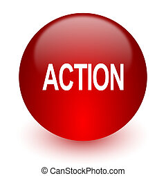 action red computer icon on white background