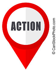Action red web pointer icon. Webdesign button on white background.