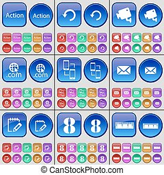 Action, Reload, CCTV, Domain, Connection, Message, Notebook, Eight, Ruler. A large set of multi-colored buttons. Vector