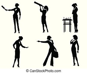 action, silhouettes, dame, business