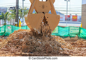 action, sol, excavateur, creuser