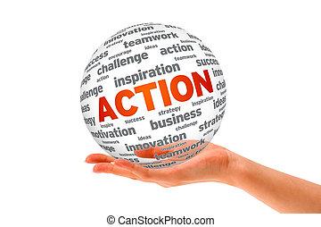 action, sphère, 3d, tenant main