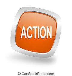 action square orange glossy chrome silver metallic web icon